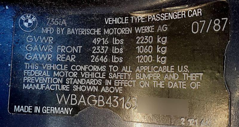 Junkyard Treasure: 1988 BMW 735 i