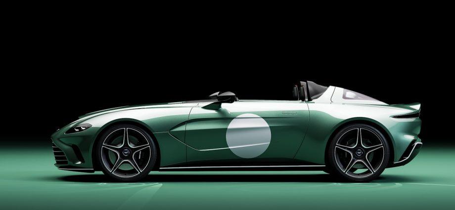 Aston Martin V12 Speedster DBR1 spec admires an attractive race cars and truck