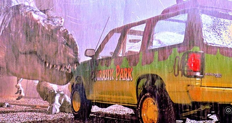 Jurassic Park Ford Explorer-themed tennis shoes are a point