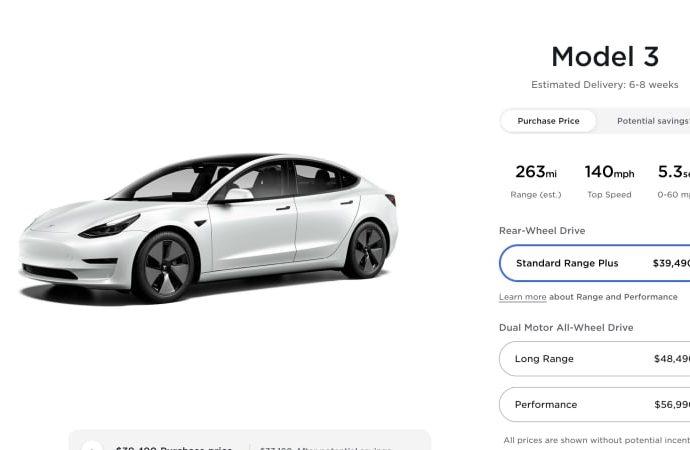 Tesla Design 3, Design Y rates inch up once more